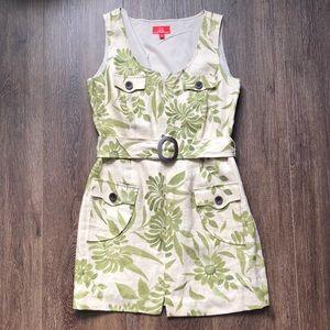 Oscar de la Renta  Green Floral Day Dress